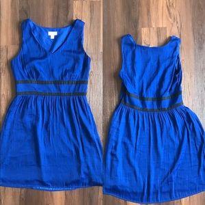 LOFT blue silk black striped dress